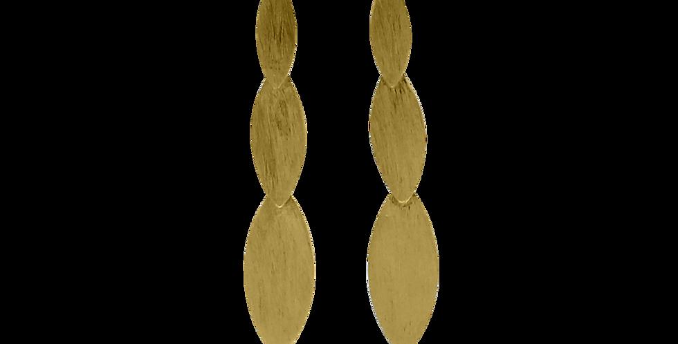 Forgyldte ørestikker med børstede blade - leaf