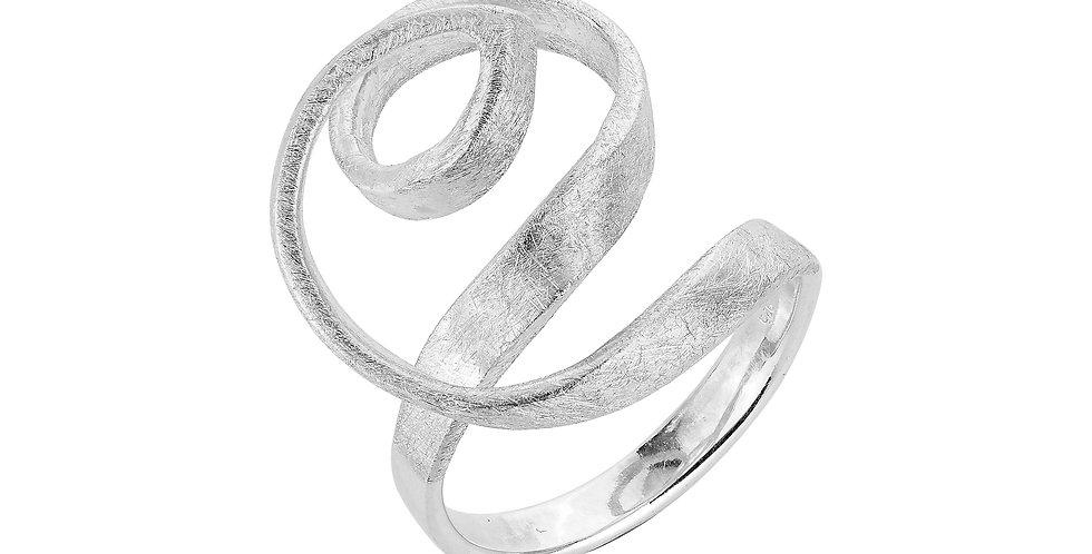 Snoet sølvringmed rå overflade