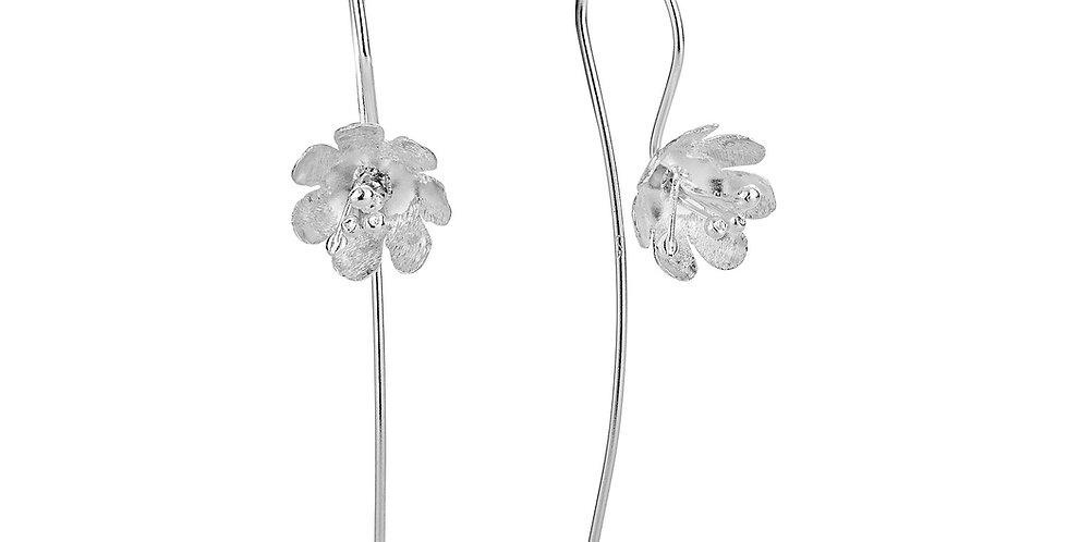 Øreringe med blomster - sølvøreringe med krog