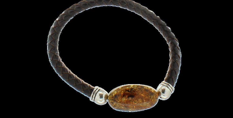5mm flettet læderarmbånd med rav
