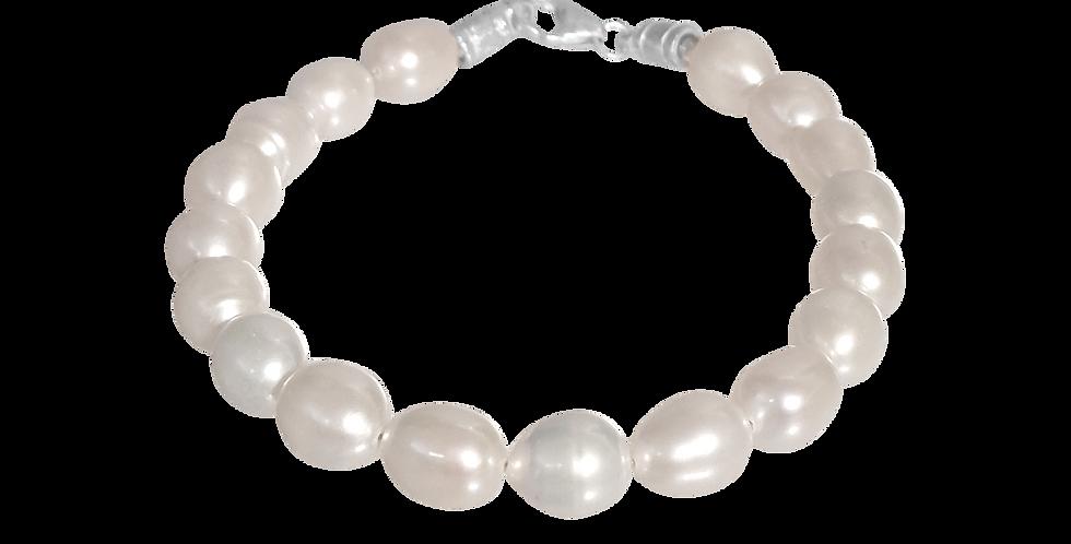 Perlearmbånd med børstet sølvlås