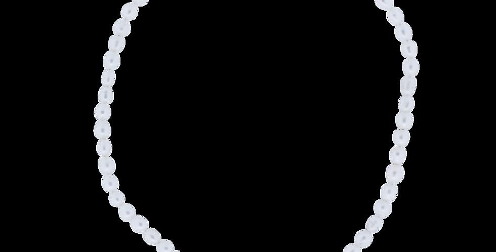 Perlehalskæde - hvide perler - klassiske perler