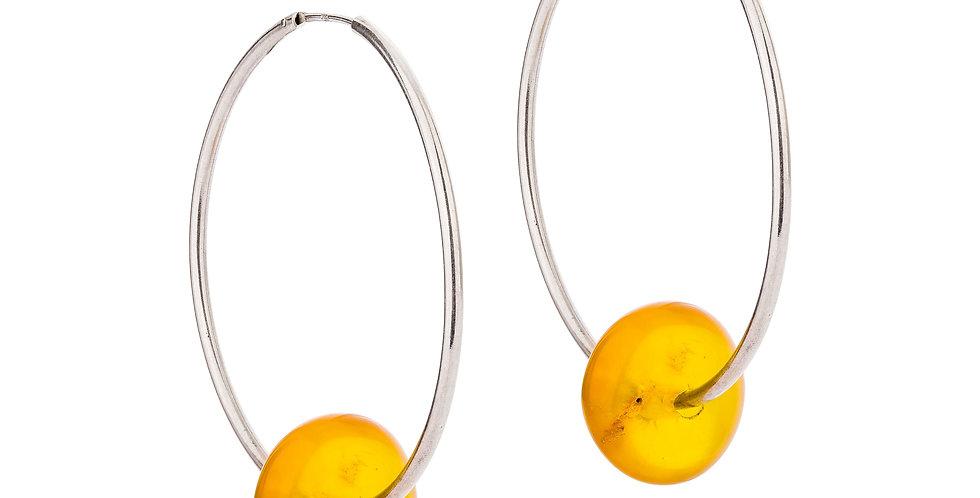 """Creoler med rav - Silver earrings with amber """"wheels"""""""