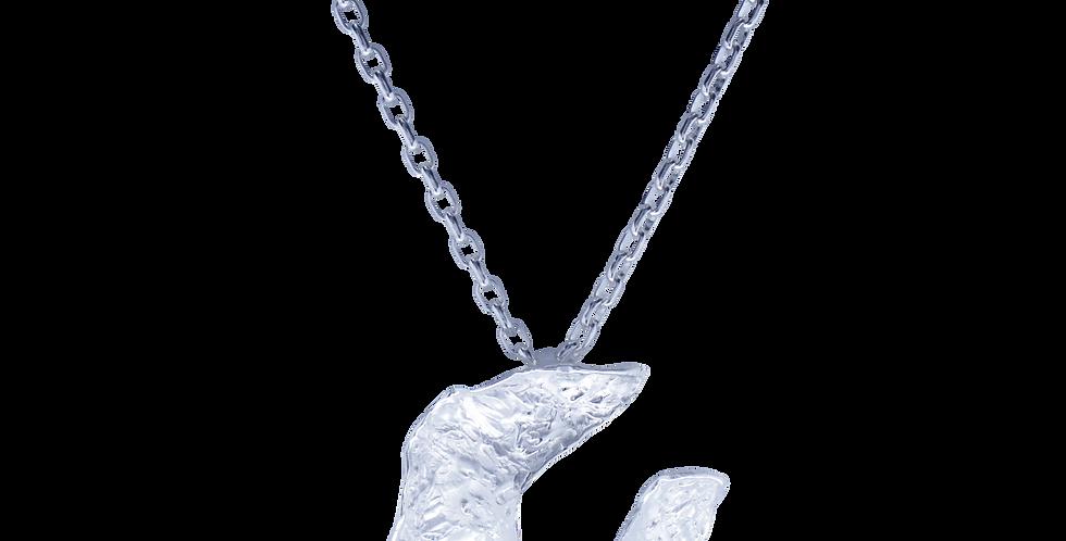 Sølvhalskæde med banket sølvvedhæng - sølvhalskæde med månevedhæng - rå sølvhalskæde