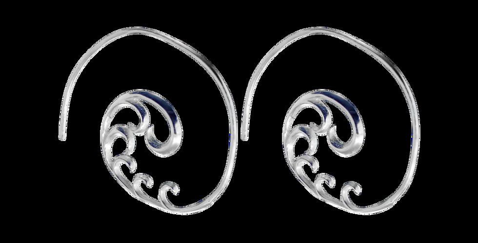 Sølvcreoler med snirkler - creolerøreringe med krummelurer - sølvøringe - hoops - sigøjnerøreringe