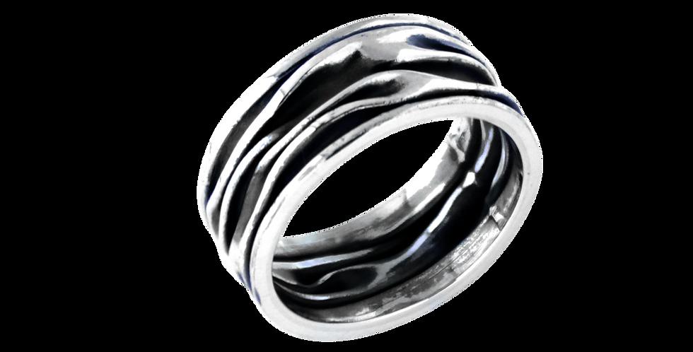 Krøllet sølvfingerring - bred ring