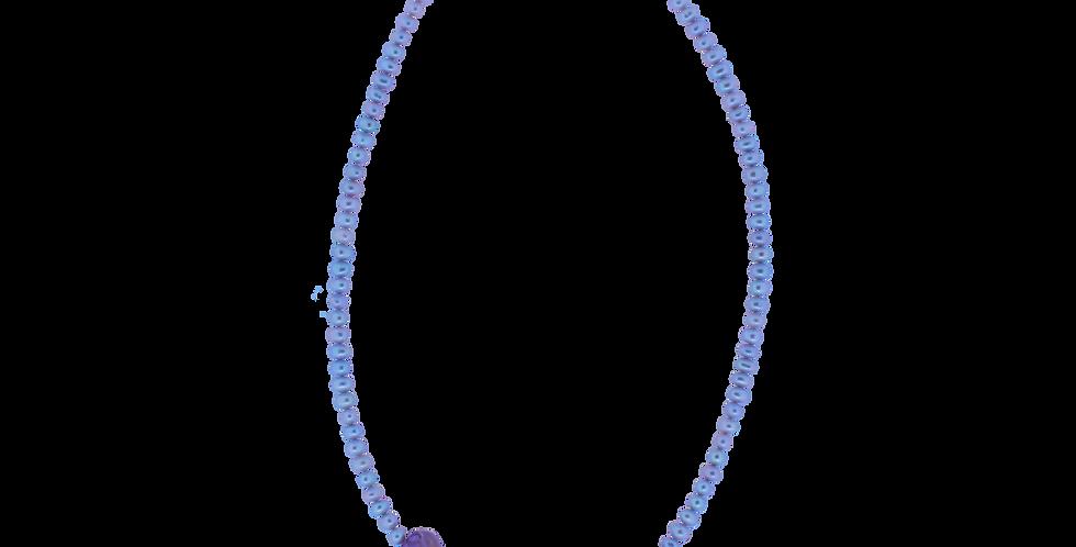 Halskæde med grå perler og ametrin