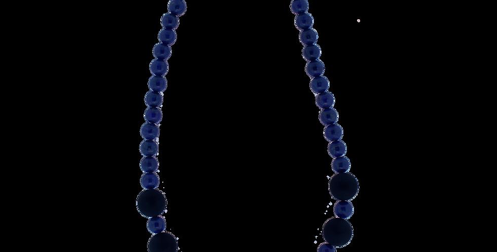 Halskæde med lapis lazuli og sort onyx - mat halskæde - rå halskæde - chunky halskæde