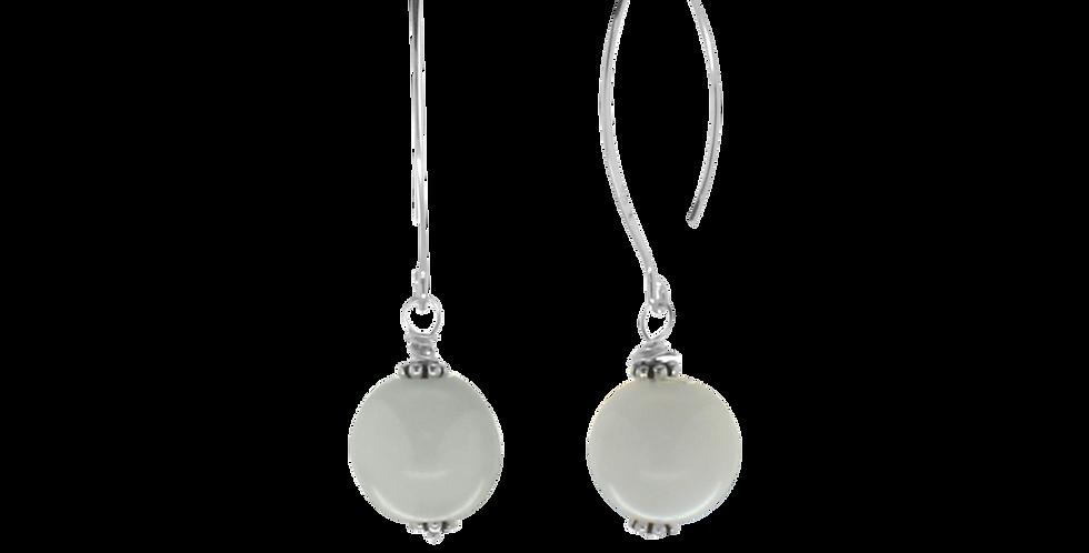 Sølvøreringe med hvid jade