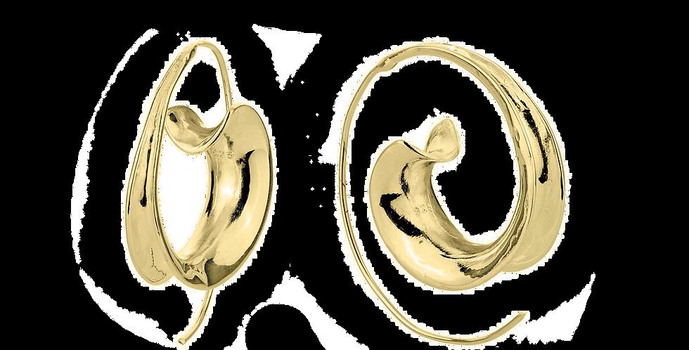 Forgyldte øreringe i enkelt snirkeldesign