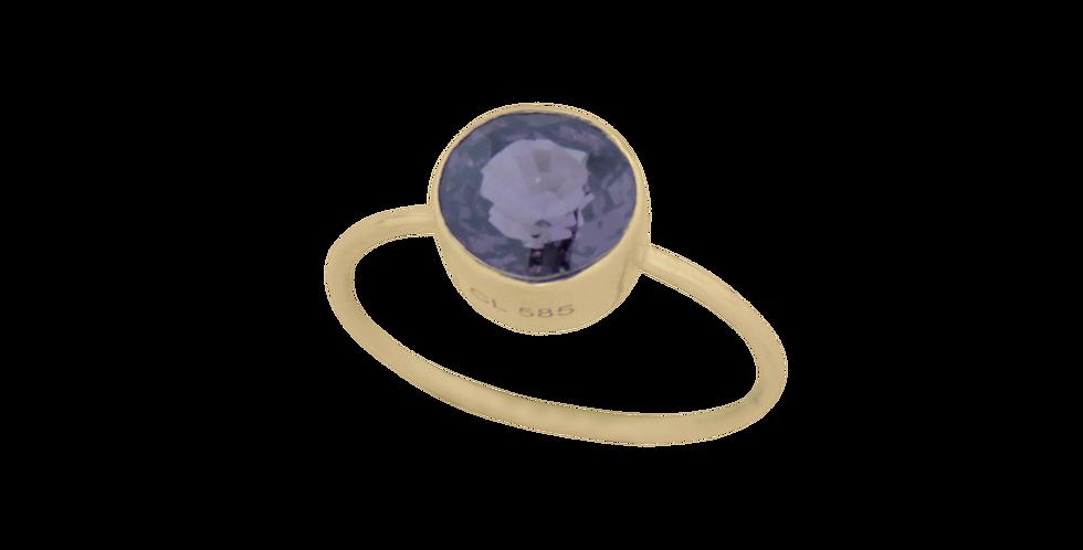 14 kt. guldring med spinel i rund fatning