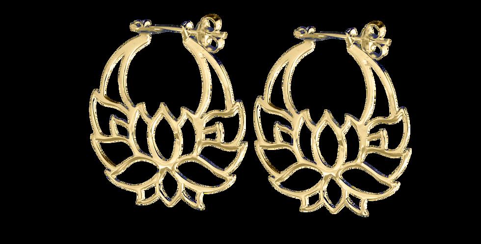Forgyldte øreringe med lotus - gyldne creoler med blomst