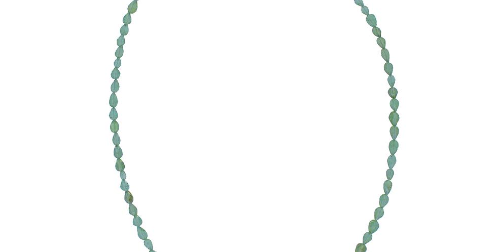 Halskæde med perodit - peridotdrops - grøn halskæde - halskæde med grønne sten