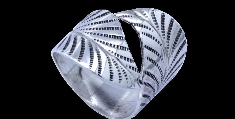 Sølvring formet som store blade - fingerring med blad som snor sig om fingeren