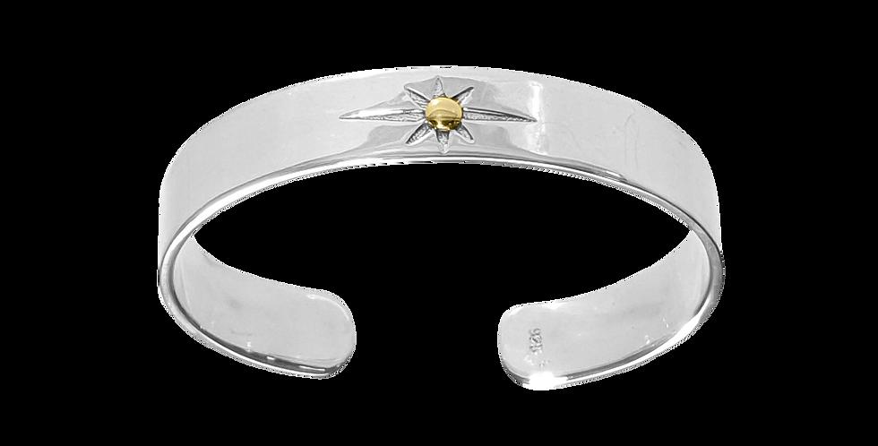 Bredt fast sølvarmbånd med stjerne