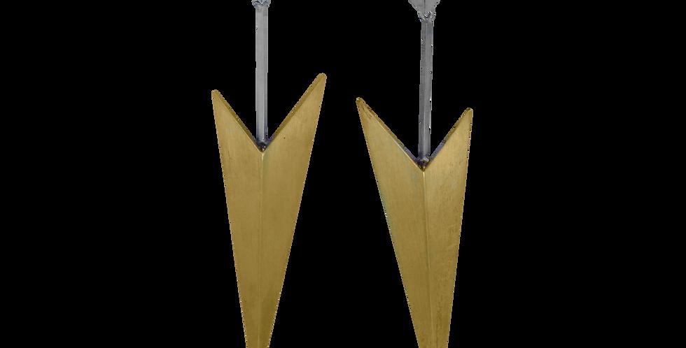 Forgyldte øreringe - forgyldte ørestikkere - forgyldte øreringe i geometrisk design - geometriske ørestikker