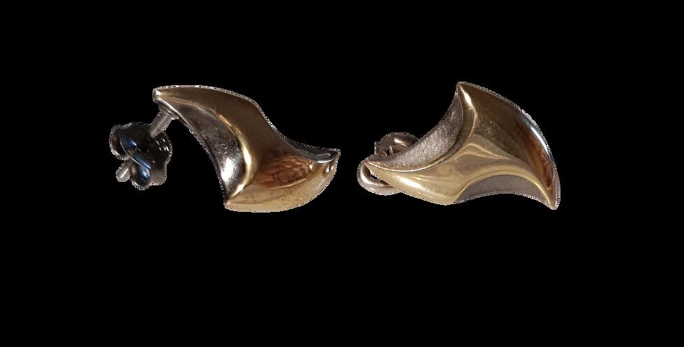Øreringe i forgyldt og rhodineret sølv