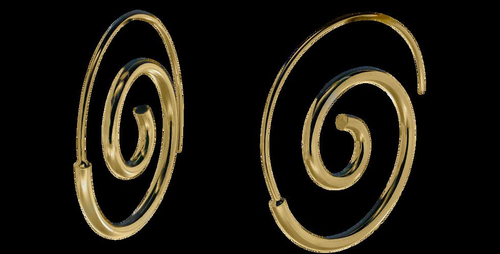 Forgyldte creolerøreringe i spiraldesign