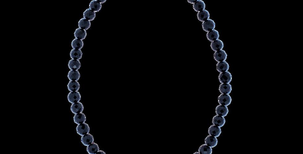 Halskæde med glat sort spinel