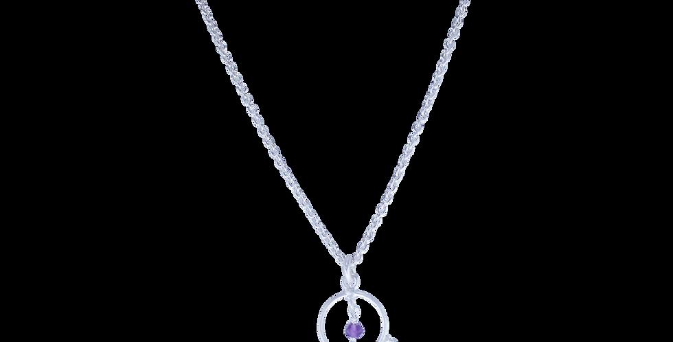 spinkel sølvhalskæde med ametyst - sølvhalskæde med lilla sten -