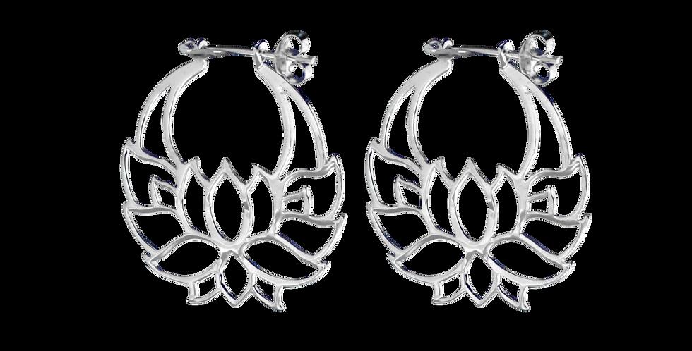 sølvøreringe med lotus - creoler med blomst - sølvcreolerøreringe med lotusblomst