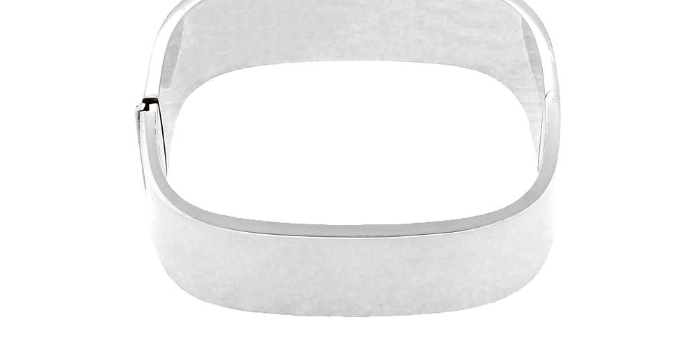 Firkantet fast sølvarmbånd