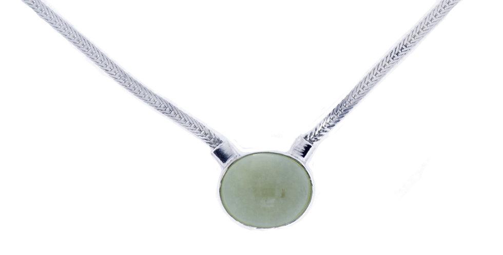 sølvhalskæde med lemon topas - slangekæde med gul sten - halskæde med grøn sten - sølvkæde med slangeflet - smykker med topas