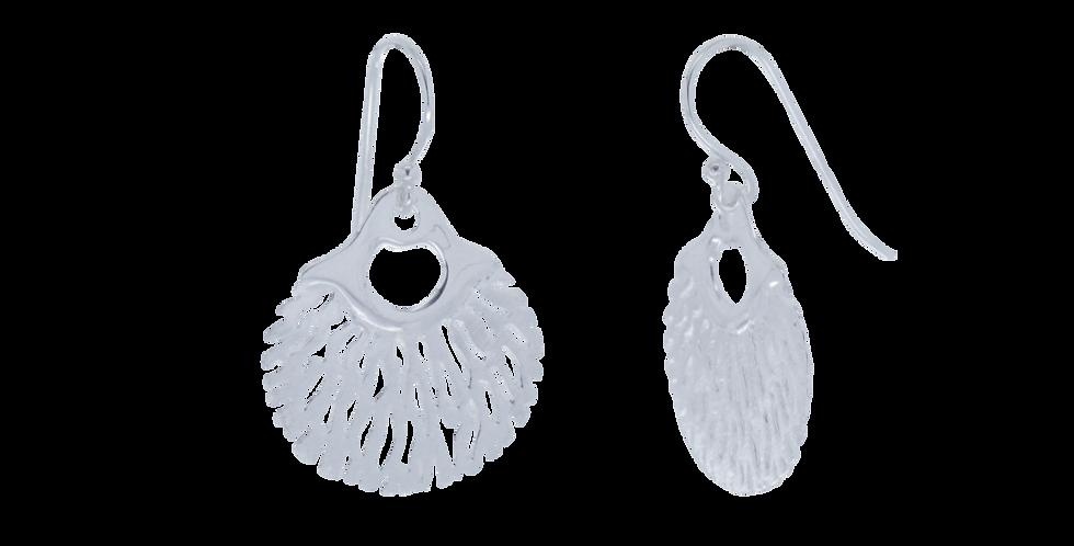 Sølvøreringe med bladvifte - øreringe i organisk design - sølvøreringe med krog og blad