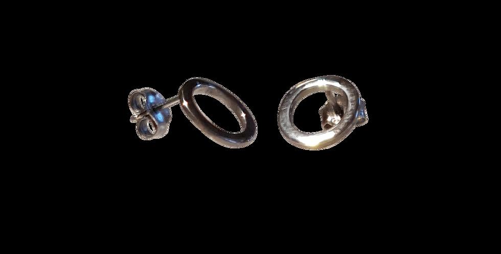 Øreringe i sølv med sølvcirkler
