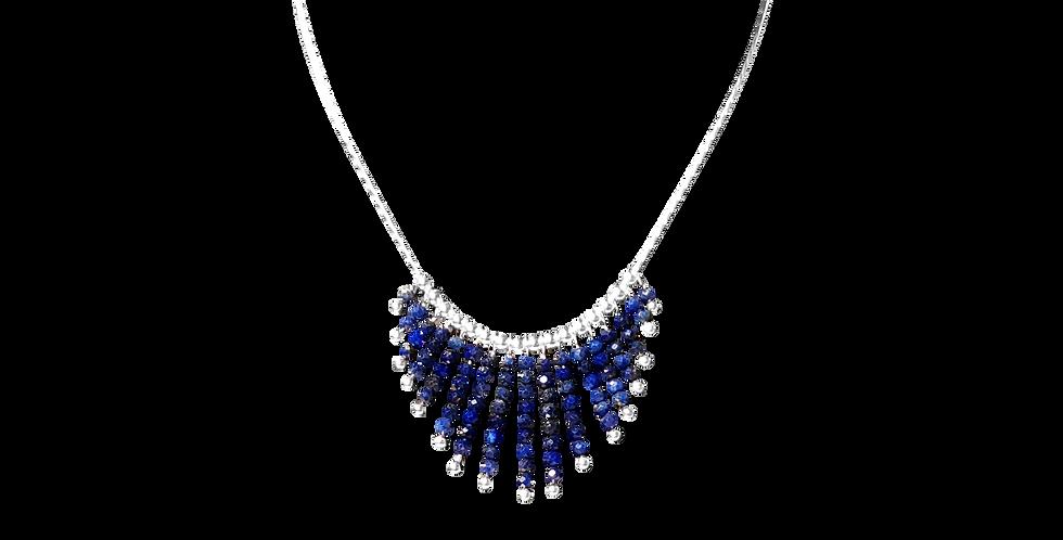 Sølvhalskæde med små lapis lazuli sten - Elegance