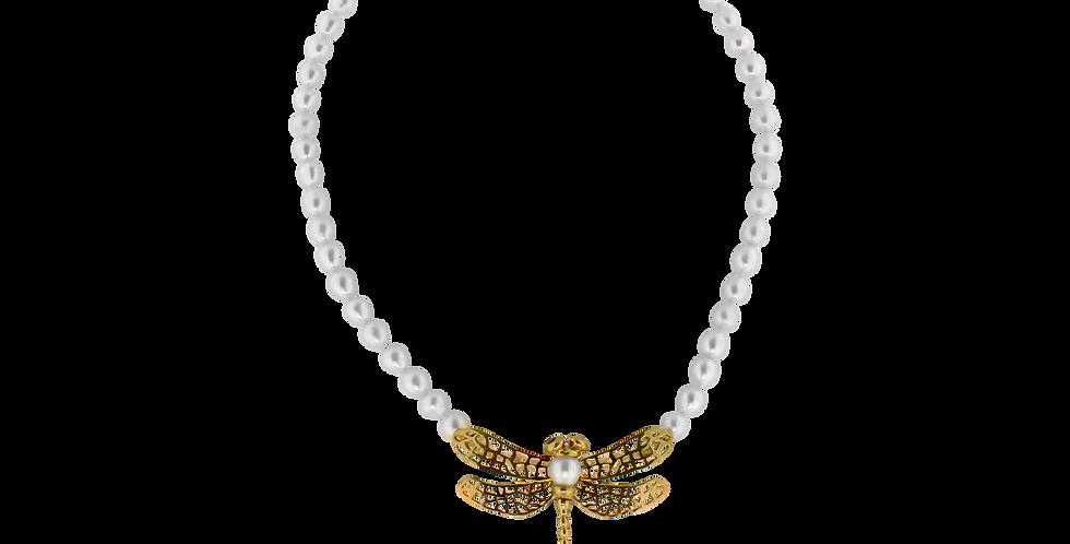 Perlehalskæde med guldsmed