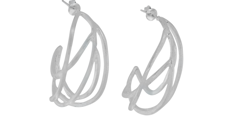 glitrende sølvøreringe - øreringe i organisk design - øreringe designet som grene