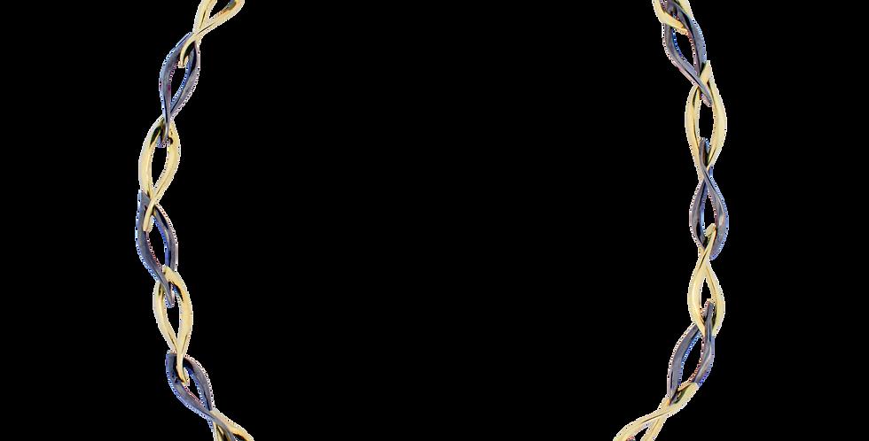 Forgyldt halskæde med blade - sortrhodineret sølvhalskæde