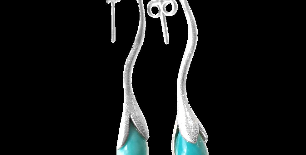 Øreringe i glittersølv med turkis