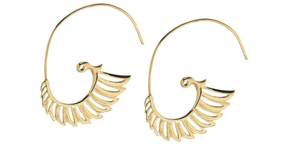 Forgyldte øreringe med vinger