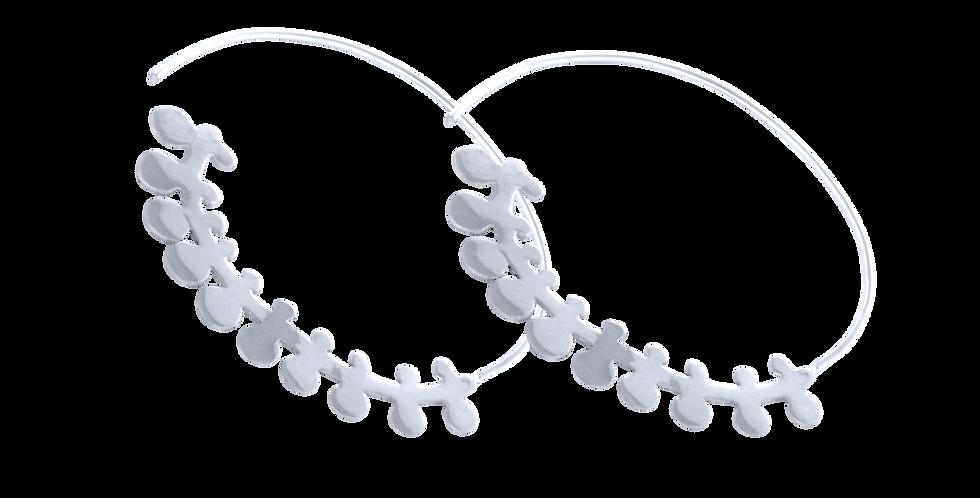sølvcreoler med figurer - sølvhoops med pynt - runde sølvøreringe