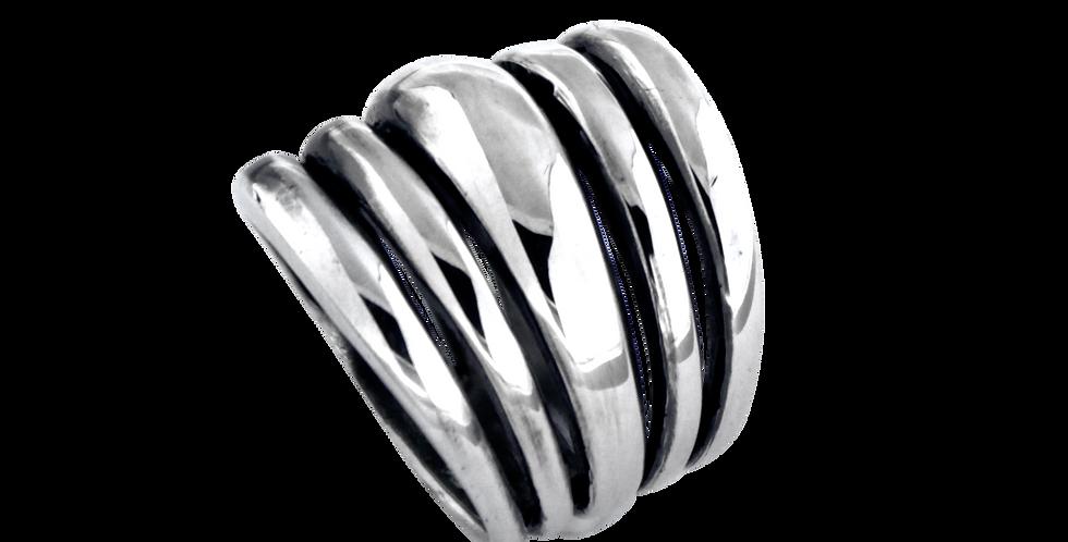 Bred sølvring med flerringseffekt