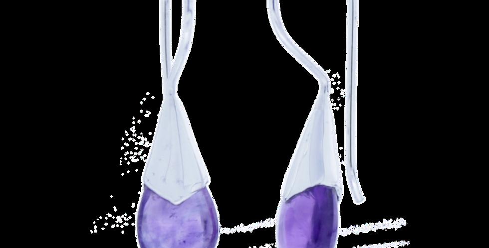 Sølvøreringe med ametyst - teardrop