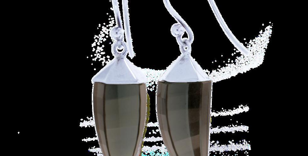 Sølvøreringe med røgkvarts - sølvøreringe med krog og sten - ørehængere med røgkvarts