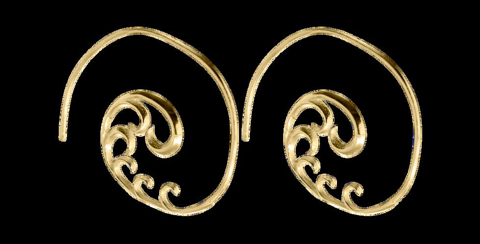 Forgyldte creoler med snirkler - forgyldte hoops - gyldne sigøjnerøreringe