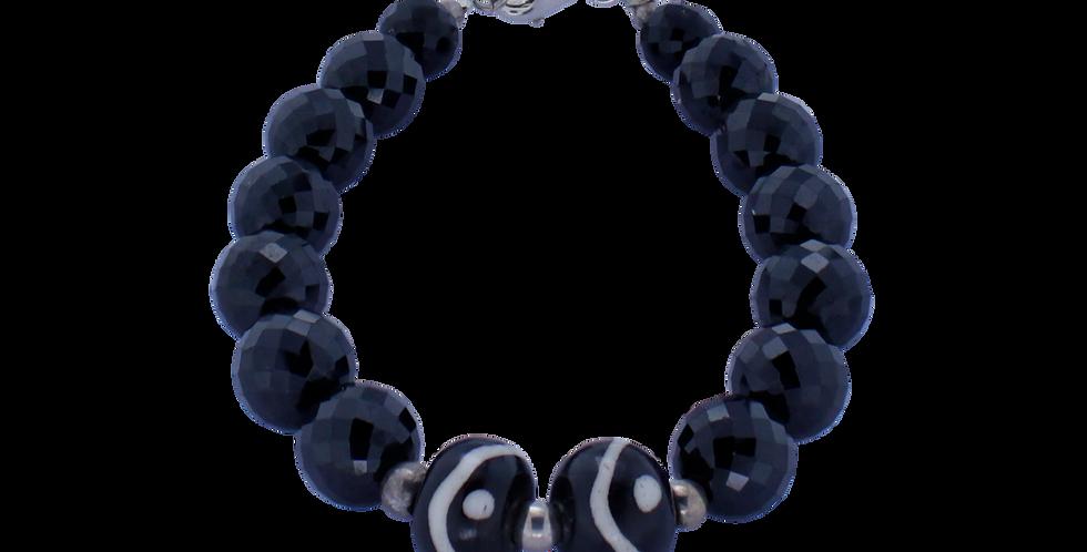 Armbånd med sort spinel - etnisk armbånd med afrikanske perler - Sort armbånd