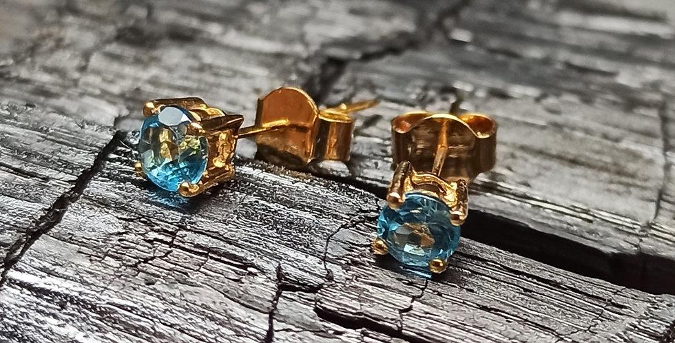 Guldørestikkere (14 kt. )med blå zirkon