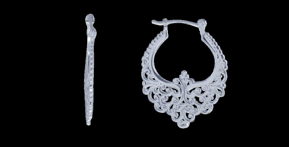 Sølvcreoler med ornamentering - pyntede sølvøreringe - sølvhoops - sigøjnerøreringe - creolerøreringe