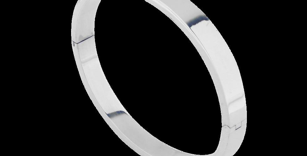 Ovalt fast sølvarmbånd