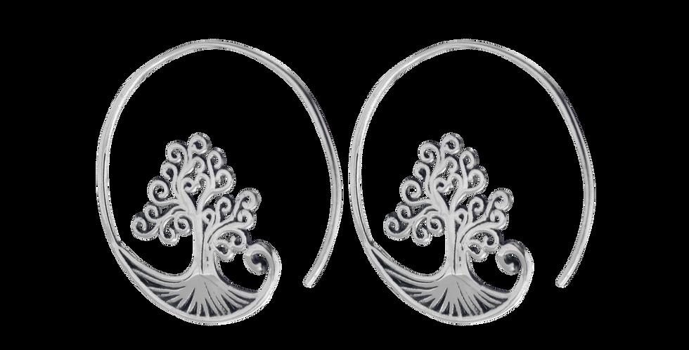 Øreringe med livets træ - smykker med livets træ - Sølvcreoler med livets træ - Livets træ i sølv
