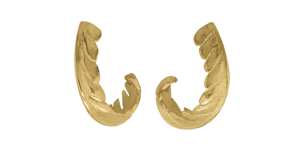 Forgyldte ørestikkere formet som et blad - leaf