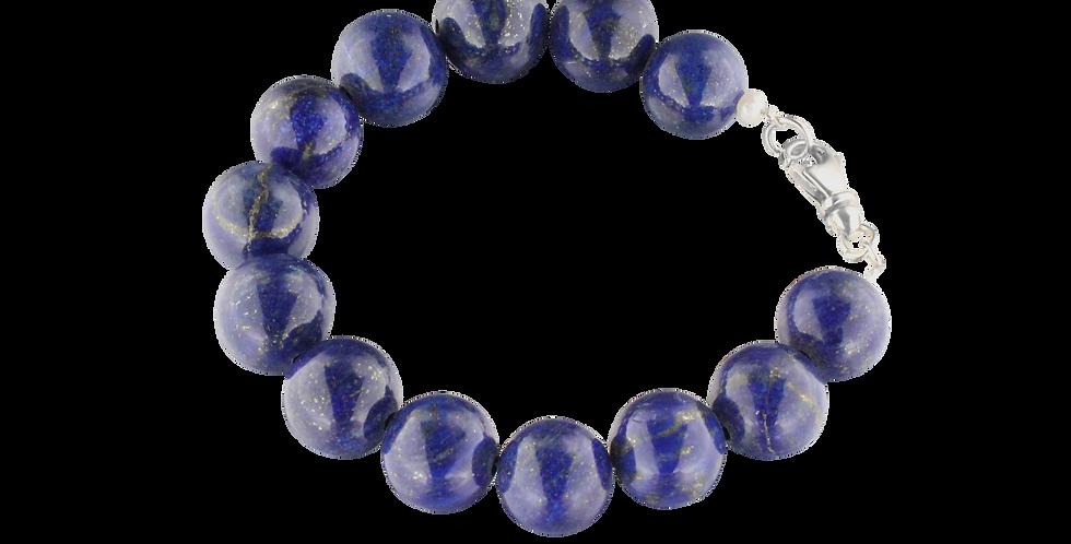 Armbånd med glatte runde lapis lazuli