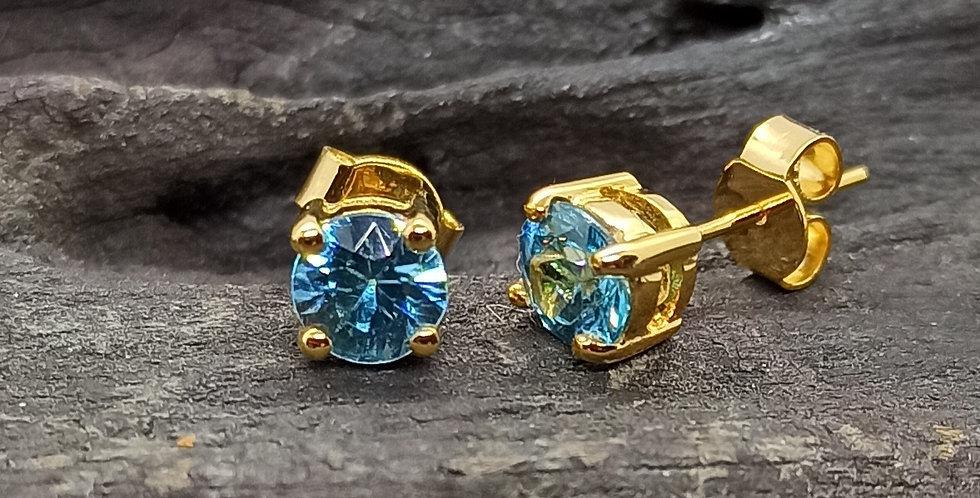 14 kt. guldørestikkere med blå zirkon