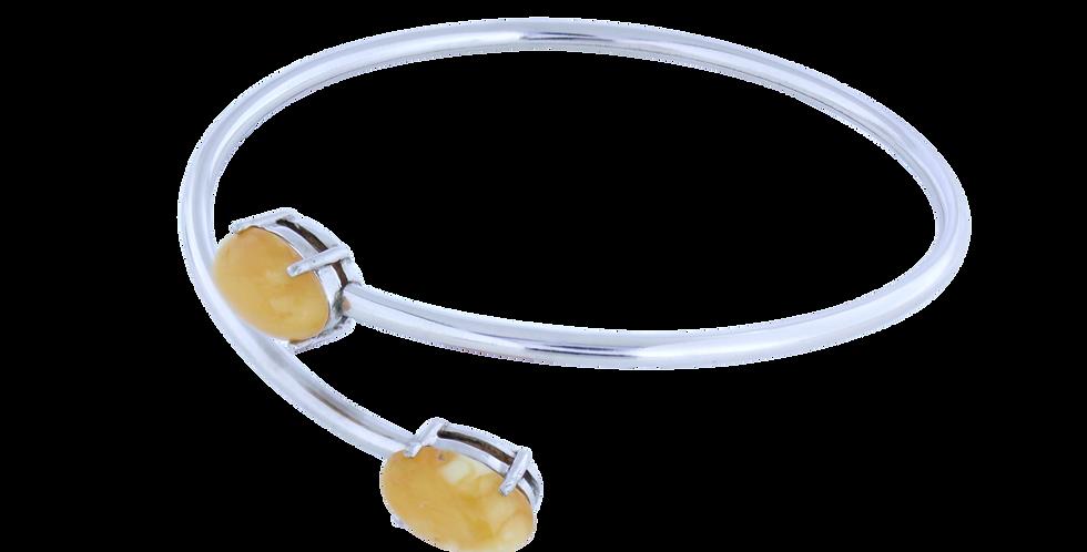 Sølvarmbånd med gult rav