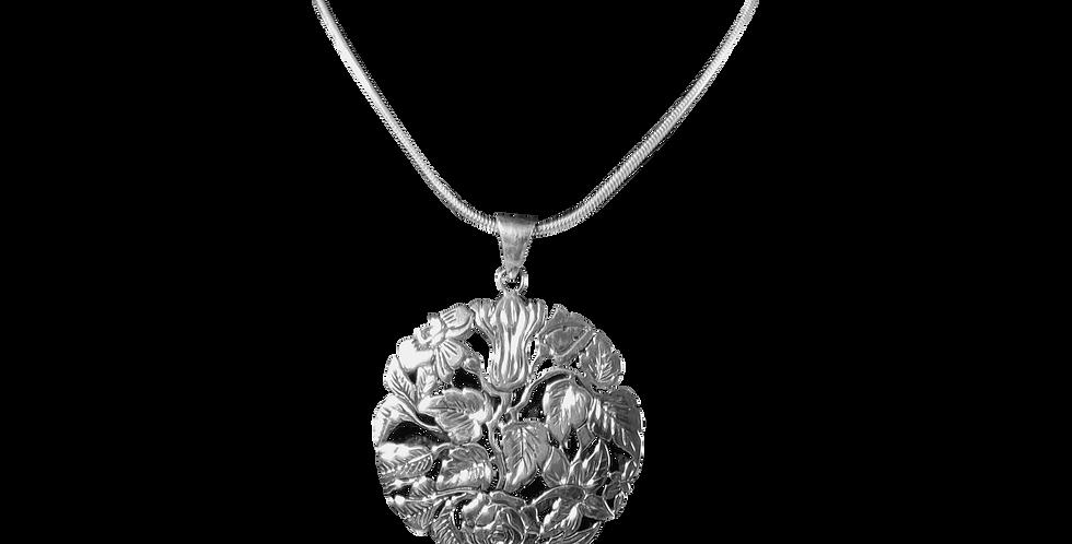 slangehalskæde med stort vedhæng med rosemotiv - blossom